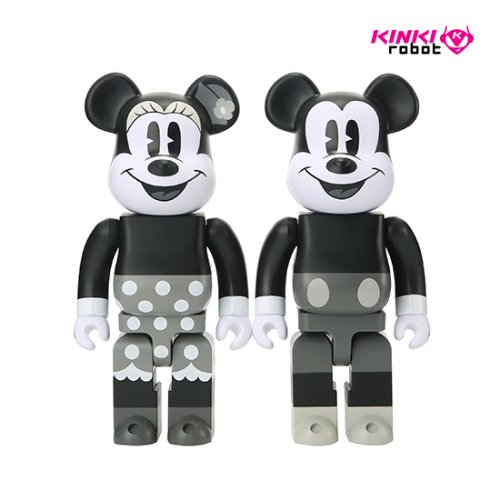 400%BEARBRICK MICKEY MOUSE B&W, MINNIE MOUSE B&W (SET)