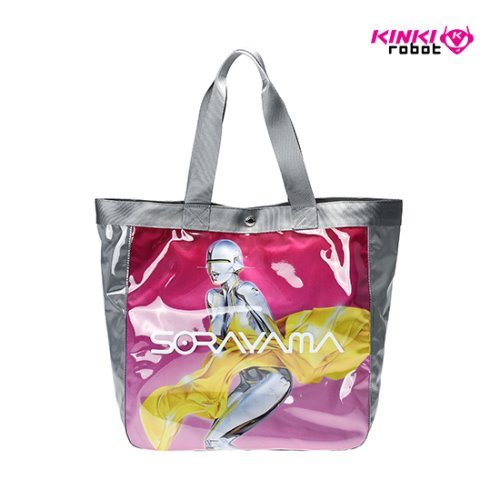 "SORAYAMA VINYL TOTE BAG ""SEXY ROBOT"" made by PORTER PINK(GRAY)"